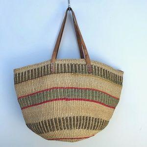 Unbranded Boho Striped Woven Basket Tote Bag #S32